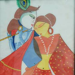 radha krishna , 17 x 12 inch, devasmita bhattacharyya,religious paintings,paintings for living room,radha krishna paintings,ivory sheet,poster color,17x12inch,GAL022766103,radhakrishna,love,pece,lordkrishna,lordradha,peace,radha,krishna,devotion,couple,flute