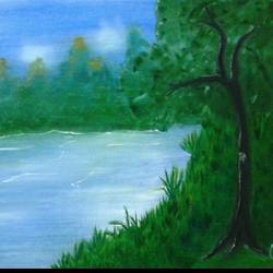 river in forest, 30 x 23 inch, parita patel,realistic paintings,paintings for bedroom,canvas,oil paint,30x23inch,GAL022776106