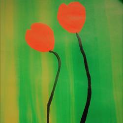 tulip trying to meet, 10 x 14 inch, komal sharma,flower paintings,paintings for living room,thick paper,acrylic color,10x14inch,GAL022426107
