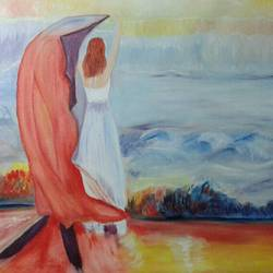 feeing on seashore, 5 x 28 inch, parita patel,conceptual paintings,paintings for bedroom,canvas,oil paint,5x28inch,GAL022776108