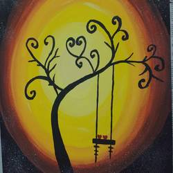 a tree, 30 x 40 inch, dhiviya thayumanavan,nature paintings,paintings for living room,canvas,acrylic color,30x40inch,GAL022836119Nature,environment,Beauty,scenery,greenery,branches,love,heart,swing