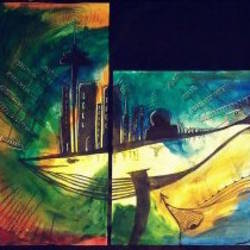 flying whales, 12 x 33 inch, sharanya missula,abstract paintings,paintings for living room,thick paper,acrylic color,12x33inch,GAL06326133