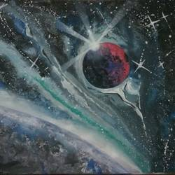 space, 11 x 8 inch, sunil begana,art deco paintings,paintings for living room,paper,poster color,11x8inch,GAL06546138
