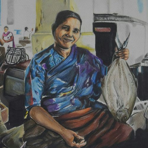 local fishmonger., 12 x 17 inch, vaishno prasad n,paintings for living room,figurative paintings,renaissance watercolor paper,pencil color,12x17inch,GAL0313615