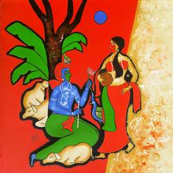 the krishna, 30 x 30 inch, chetan katigar,figurative paintings,paintings for living room,radha krishna paintings,canvas,mixed media,30x30inch,GAL02666150