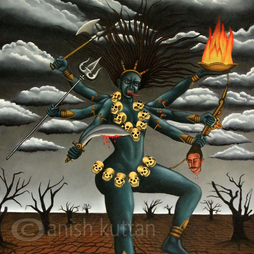 bhadrakali., 33 x 56 inch, anish kuttan,religious paintings,paintings for living room,canvas,mixed media,33x56inch,GAL022996169