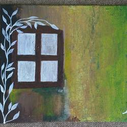 window on the old wall, 10 x 8 inch, vijita pillai,abstract paintings,paintings for dining room,canvas,acrylic color,10x8inch,GAL023036176