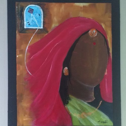 tethered ambitions, 16 x 20 inch, vijita pillai,abstract paintings,paintings for office,canvas,acrylic color,16x20inch,GAL023036179