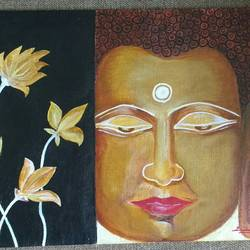 renunciation on mind... siddhartha to gautam buddha, 16 x 12 inch, vijita pillai,buddha paintings,paintings for living room,paintings,canvas,acrylic color,16x12inch,religious,peace,meditation,meditating,gautam,goutam,buddha,flowers,lotus,brown,face,GAL023036180