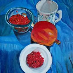 pomegranates, 24 x 26 inch, rupinder  kaur,still life paintings,paintings for dining room,canvas,oil,24x26inch,GAL018626182