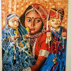 balikavadhu , 30 x 40 inch, geetu thakur,realistic paintings,paintings for living room,canvas,oil,30x40inch,GAL023216191