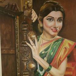 lady on the door , 26 x 52 inch, geetu thakur,realistic paintings,paintings for dining room,canvas,oil,26x52inch,GAL023216195