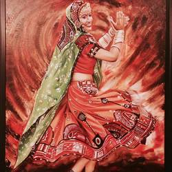 ghoomar, 36 x 48 inch, geetu thakur,realistic paintings,paintings for living room,canvas,oil,36x48inch,GAL023216198