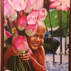 happiness , 30 x 40 inch, geetu thakur,realistic paintings,paintings for bedroom,canvas,oil,30x40inch,GAL023216199