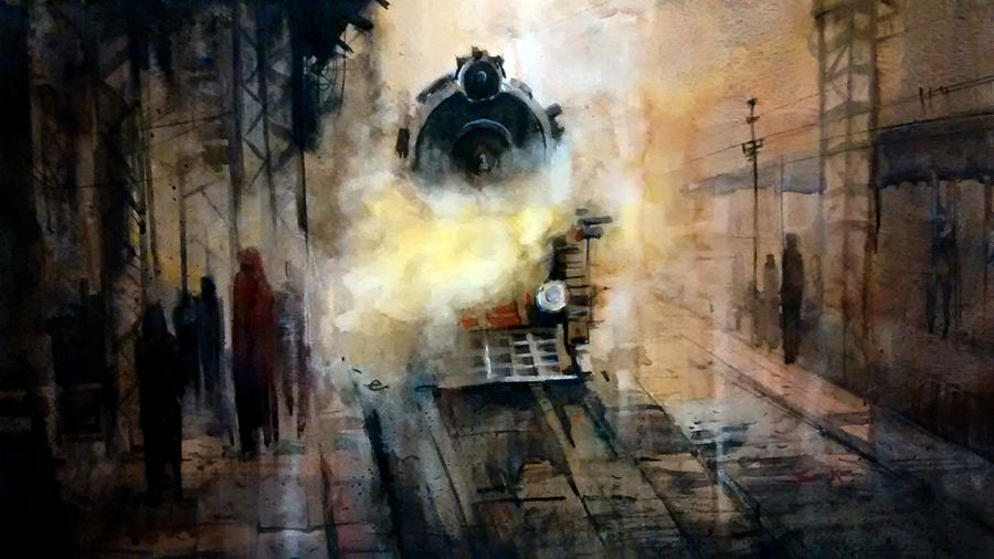 first train in fog, 20 x 15 inch, sankar thakur,cityscape paintings,paintings for office,fabriano sheet,watercolor,20x15inch,GAL0762