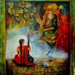 meera sang krishna , 35 x 42 inch, arjun das,figurative paintings,paintings for living room,radha krishna paintings,canvas,acrylic color,35x42inch,GAL0112620