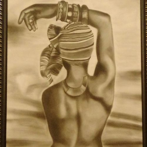 care free , 52 x 26 inch, geetu thakur,paintings for bedroom,figurative paintings,canvas,charcoal,52x26inch,GAL023216200
