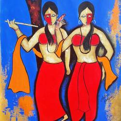 sakhi, 21 x 28 inch, chetan katigar,figurative paintings,paintings for living room,vertical,canvas,mixed media,21x28inch,GAL02666204