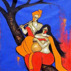 romantic couple, 28 x 28 inch, chetan katigar,figurative paintings,paintings for living room,canvas,mixed media,28x28inch,GAL02666205