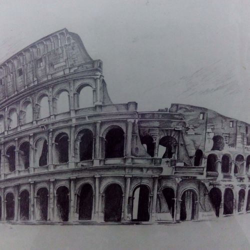 colosseum, 15 x 11 inch, pragya agrawal,fine art drawings,paintings for office,cartridge paper,graphite pencil,15x11inch,GAL022706214