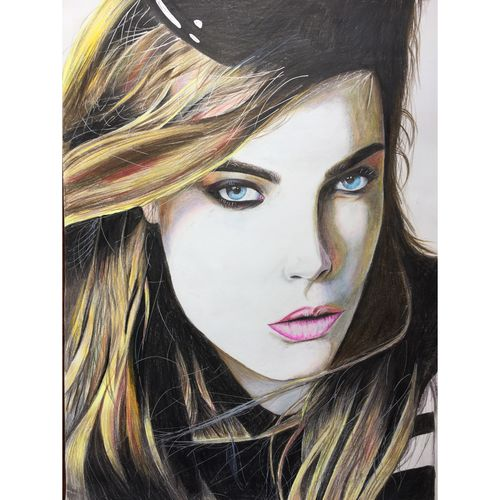 cara delevingne, 12 x 17 inch, lovepreet gill,portrait drawings,paintings for dining room,paper,pencil color,12x17inch,GAL023336225