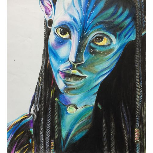 avatar, 12 x 17 inch, lovepreet gill,portrait drawings,paintings for bedroom,thick paper,pencil color,12x17inch,GAL023336226