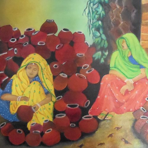 canvas, 12 x 16 inch, shama harsolia,figurative paintings,paintings for living room,canvas,oil,12x16inch,GAL023026233