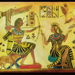 the pharoah's hunt-egyptian mural art, 30 x 22 inch, sujan  babu,paintings for living room,modern art paintings,handmade paper,watercolor,30x22inch,GAL023366242