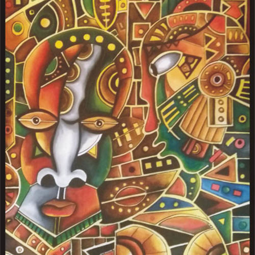 exoctic african art, 22 x 30 inch, sujan  babu,folk art paintings,paintings for living room,handmade paper,watercolor,22x30inch,GAL023366243