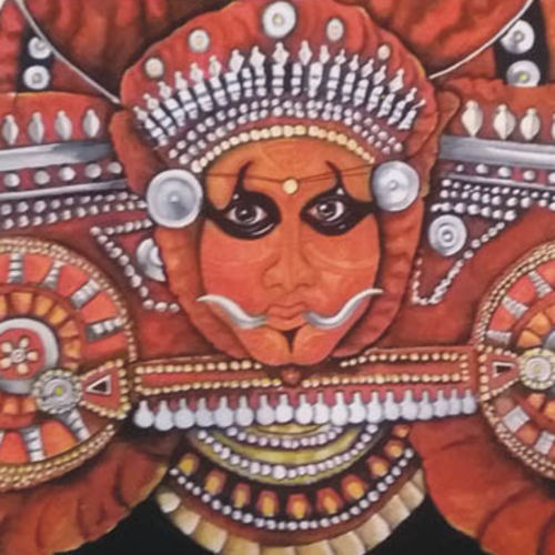 theyyam, 22 x 15 inch, sujan  babu,folk art paintings,paintings for living room,handmade paper,watercolor,22x15inch,GAL023366244