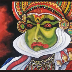 kathakali, 26 x 19 inch, sujan  babu,paintings for living room,figurative paintings,paintings for dining room,paintings for bedroom,ivory sheet,watercolor,26x19inch,GAL023366245