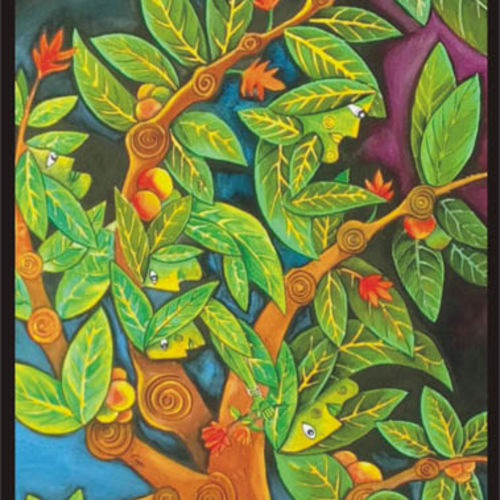 'the tree people', 22 x 30 inch, sujan  babu,abstract paintings,paintings for living room,handmade paper,watercolor,22x30inch,GAL023366246