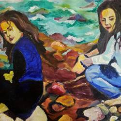 on the rocks , 28 x 22 inch, rupinder  kaur,impressionist paintings,paintings for living room,canvas,oil,28x22inch,GAL018626248
