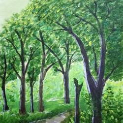 a forest, 10 x 12 inch, malvika bahuguna,landscape paintings,paintings for living room,canvas,acrylic color,10x12inch,GAL021966252