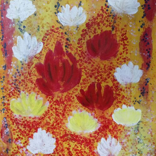 flowers, 10 x 12 inch, malvika bahuguna,flower paintings,paintings for living room,canvas board,acrylic color,10x12inch,GAL021966253