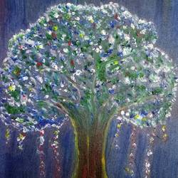 a tree!!, 7 x 10 inch, malvika bahuguna,art deco paintings,paintings for living room,thick paper,oil,7x10inch,GAL021966254