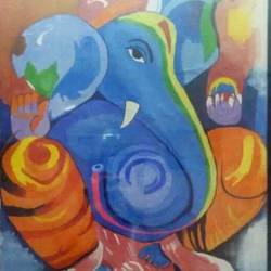 lord ganesh, 16 x 25 inch, mayank sharma,religious paintings,paintings for living room,vertical,ganesha paintings,cloth,acrylic color,16x25inch,GAL023496259,vinayak,ekadanta,ganpati,lambodar,peace,devotion,religious,lord ganesha,lordganpati