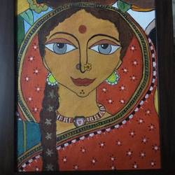 indian woman , 4 x 5 inch, keshika  d,contemporary paintings,paintings for living room,canvas,acrylic color,4x5inch,GAL023516260