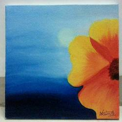 beauty in yellow, 12 x 12 inch, daisy  sharma,flower paintings,paintings for living room,canvas,oil,12x12inch,GAL023536261