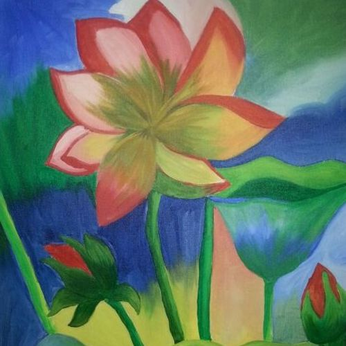 evening lotus, 16 x 20 inch, daisy  sharma,flower paintings,paintings for living room,canvas,acrylic color,16x20inch,GAL023536263