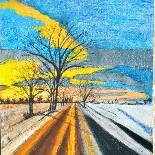 off the road, 29 x 42 inch, daisy  sharma,landscape paintings,paintings for living room,cartridge paper,pastel color,29x42inch,GAL023536265