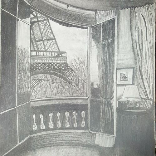 outside the window, 29 x 42 inch, daisy  sharma,photorealism drawings,paintings for living room,cartridge paper,graphite pencil,29x42inch,GAL023536266