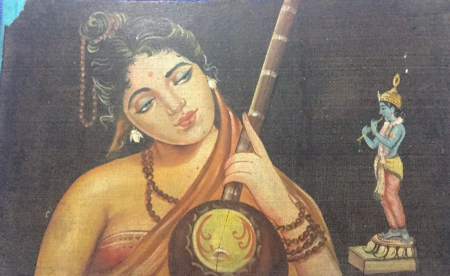meera and krishna soul love, 24 x 15 inch, vijay  ghai,love paintings,paintings for office,radha krishna paintings,ply board,poster color,24x15inch,GAL023586274