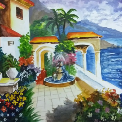 garden view, 12 x 9 inch, akshaya sona k,landscape paintings,paintings for living room,drawing paper,pastel color,12x9inch,GAL023766276