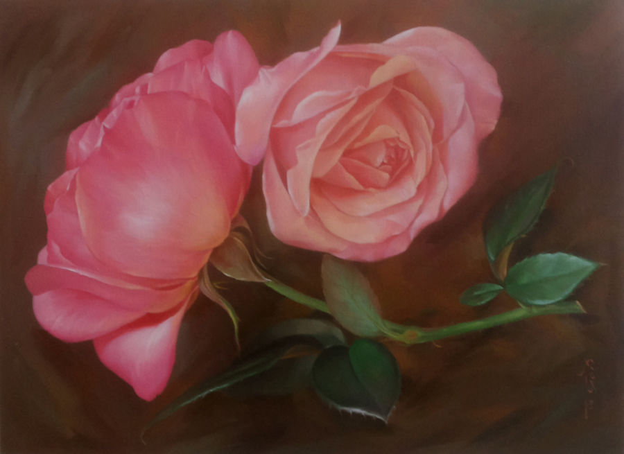 charming, 24 x 30 inch, gopi verma,flower paintings,paintings for living room,canvas,oil,24x30inch,GAL0296628