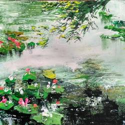 of lake with lotus plants, 10 x 14 inch, anirban  kar,nature paintings,paintings for living room,thick paper,acrylic color,10x14inch,GAL015606309Nature,environment,Beauty,scenery,greenery
