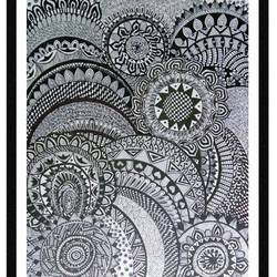 mandala, 11 x 15 inch, munira doriwala,art deco drawings,paintings for dining room,drawing paper,ink color,11x15inch,GAL024046321