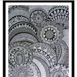 mandala, 11 x 15 inch, munira doriwala,art deco drawings,paintings for dining room,drawing paper,ink color,11x15inch,GAL024046322