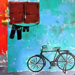 chachu ki cycle, 20 x 18 inch, aviskha gogoi,abstract paintings,paintings for living room,canvas,acrylic color,20x18inch,GAL024096324