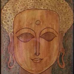 gautam budha, 11 x 14 inch, kalpana sravanthi,buddha paintings,paintings for living room,canson paper,acrylic color,11x14inch,religious,peace,meditation,meditating,gautam,goutam,buddha,brown,face,GAL022396326